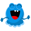 Cute blue smiling monster